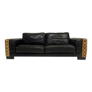 Rockstar Moto Black Leather & Python / Snakeskin Sofa Post-Modern M. Villency For Sale