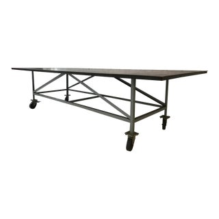 Industrial Steel Work or Dinning Table with Wheels For Sale