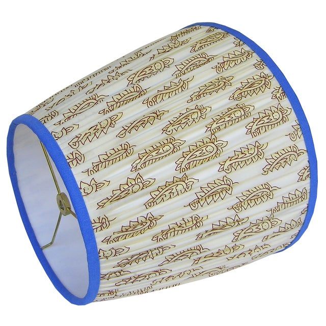 Boho Chic Cream Paisley Pleated Lamp Shade With Blue Trim For Sale - Image 3 of 8