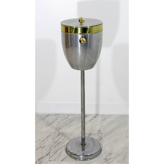 Art Deco Aluminum and Brass Standing Champagne Ice Cooler For Sale - Image 4 of 10
