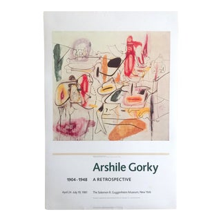 Vintage 1981 Arshile Gorky Original Abstract Lithograph Print Exhibition Poster For Sale