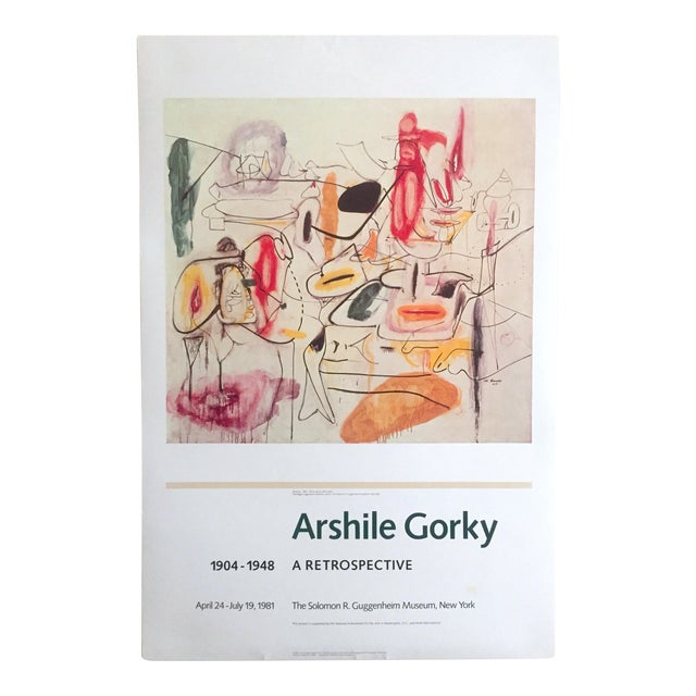 Vintage 1981 Arshile Gorky Original Abstract Lithograph Print Exhibition Poster - Image 1 of 9