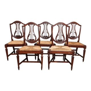 Italian Neoclassical Walnut, Lyre Back Side Chairs - Set of 5 For Sale