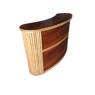 Biomorphic Stacked Rattan Bar With Mahogany Front & Top For Sale