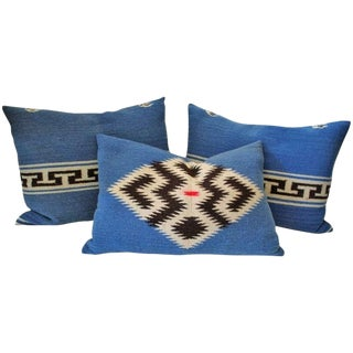 Group of Three Texcoco Mexican Indian Weaving Bolster Pillows For Sale