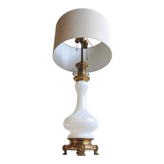 Milk Glass & Brass Two Socket Lamp For Sale