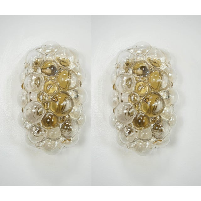 Gold Oblong Bubble Glass Wall Lights by Helena Tynell - a Pair For Sale - Image 8 of 8