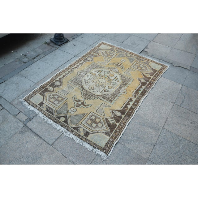 Islamic Antique Tribal Faded Rug - 3′11″ × 5′7″ For Sale - Image 3 of 6