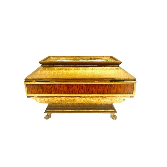 Gold Early 19th Century Neoclassical Style Work Box For Sale - Image 8 of 9