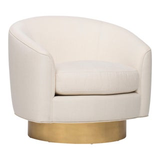 Velvet Round Brass Club Chair