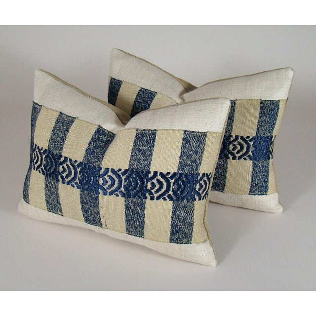 2010s Japanese Silk Sakiori Obi Geometric Pillow Cover For Sale - Image 5 of 6
