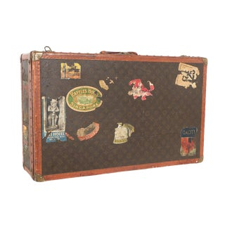 Early 20th Century Louis Vuitton Paris Monogram Canvas Trunk, Hard Suitcase For Sale