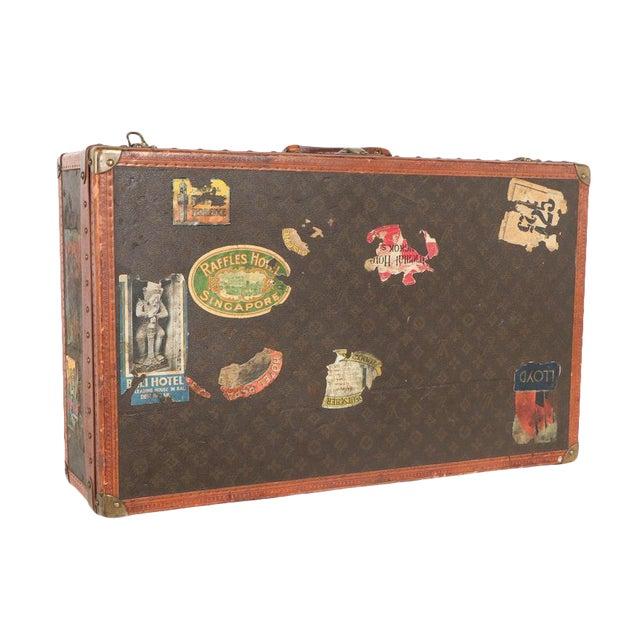 Early 20th Century Louis Vuitton Paris Monogram Canvas Trunk, Hard Suitcase For Sale