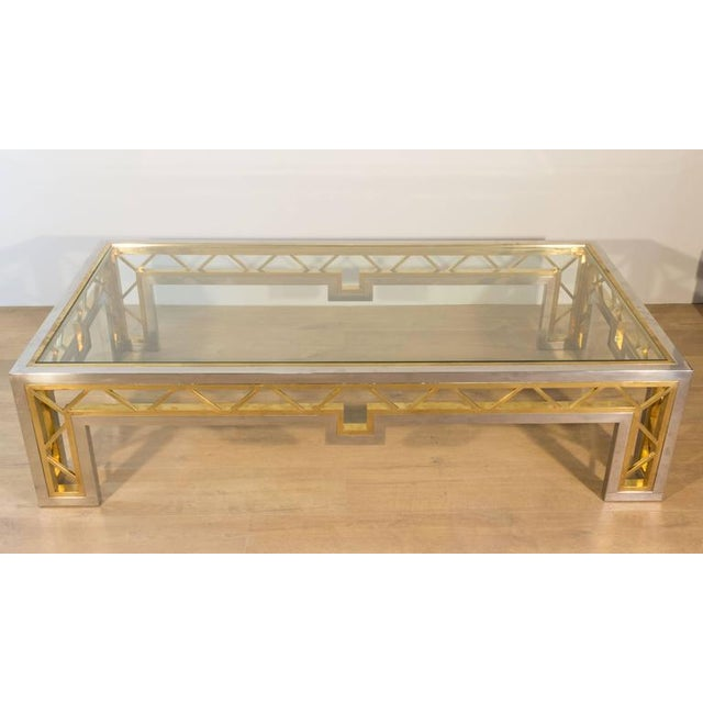 French 1970s Polished Steel and Brass Coffee Table with Glass Top - Image 5 of 8