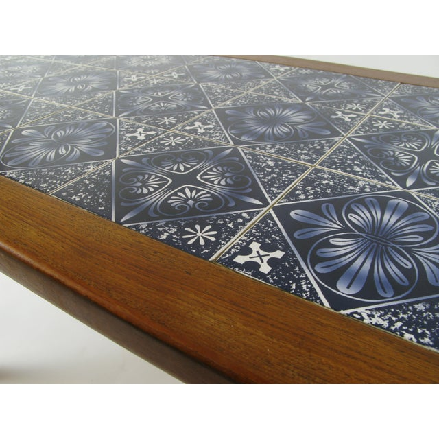 Danish Modern Teak Coffee Table With Royal Copenhagen Tile Inserts For Sale - Image 4 of 5