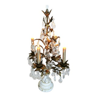 Vintage Tole Candelabra With Tear Drop Crystals and Marble Base For Sale