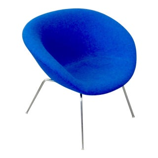 Arne Jacobsen Fritz Hansen Restored Blue Pot Chair For Sale