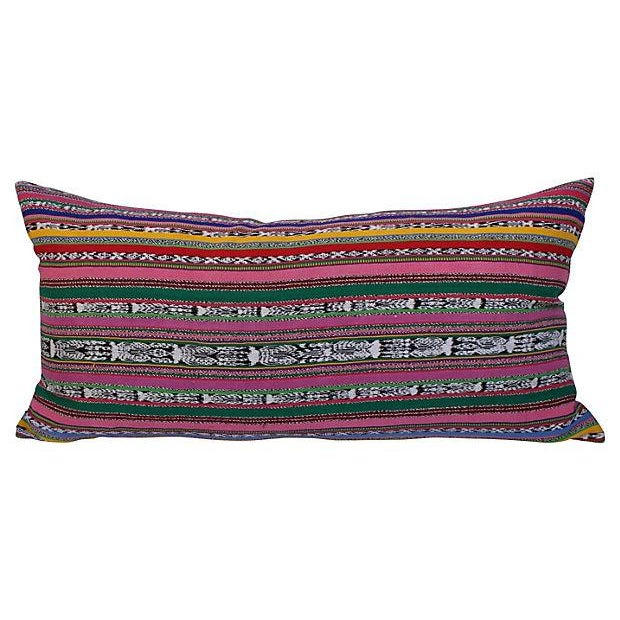 Colorful Striped Ikat Pillows - A Pair For Sale - Image 5 of 5
