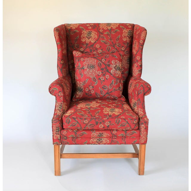 Chippendale Upholstered Wingback Chair For Sale - Image 3 of 11