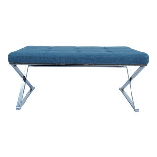 C.1970s Mid-Century Chrome X-Mitered Upholstered Bench For Sale
