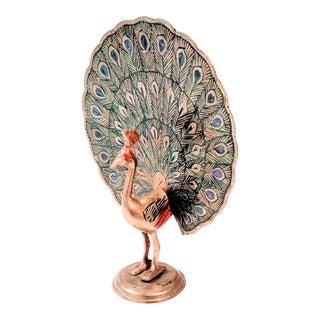 Vintage Mid Century Brass Peacock Figure For Sale