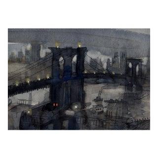 Fine Art Giclee Print Of Brooklyn Bridge For Sale
