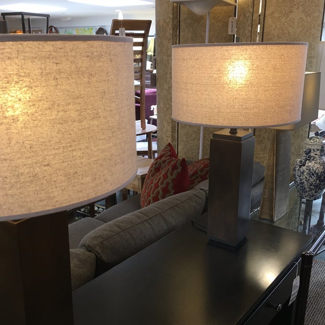 Restoration Hardware Restoration Hardware Square Column Table Lamp - A Pair For Sale - Image 4 of 7