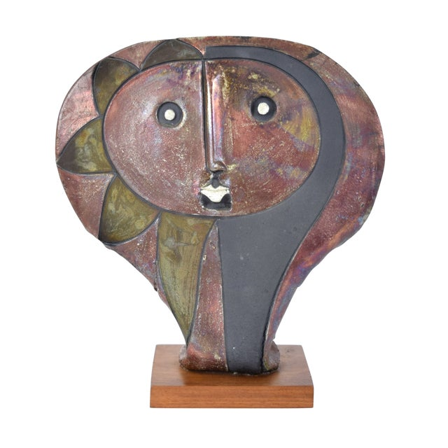 1980s Doug Delind Picasso-Like Abstracted Face Art Pottery Sculpture For Sale