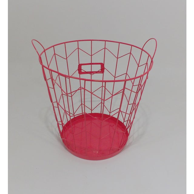 Contemporary Contemporary Red Wire Metal Waste Receptacle For Sale - Image 3 of 6