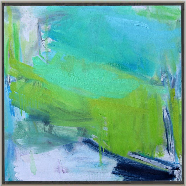 """Abstract """"After the Downpour"""" by Trixie Pitts Abstract Expressionist Oil Painting For Sale - Image 3 of 10"""