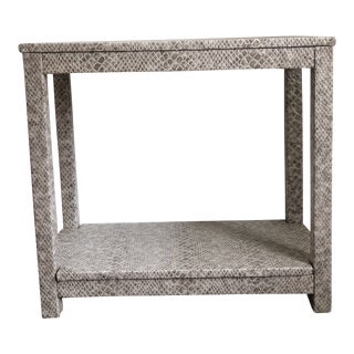 Gray Faux Leather Upholstered Accent Table