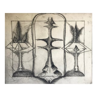 1966 Abstract Etching For Sale