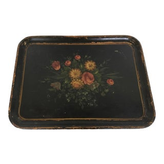 Antique Hand Made and Painted Wood Tole Serving Tray For Sale