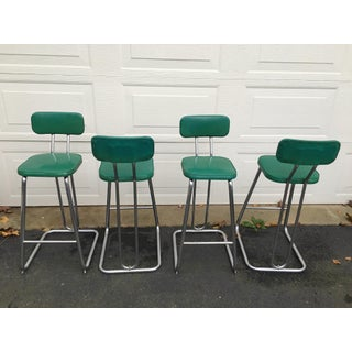 1930's Daystrom Green Vinyl Hairpin Bar Stools- Set of 4 Preview