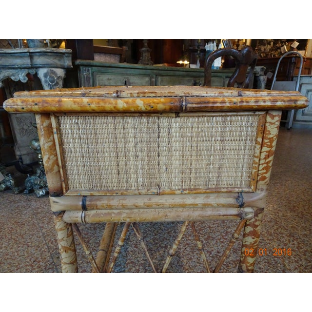 Tan Pair of Vintage French Bamboo Tables For Sale - Image 8 of 10