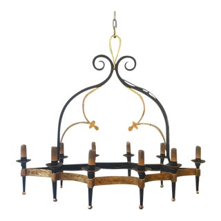 Unusual Large Gilt and Black Iron Chandelier With Ten Arms For Sale