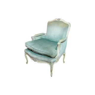 20th Century Louis XV Style Paint Decorated Bergere Chair.
