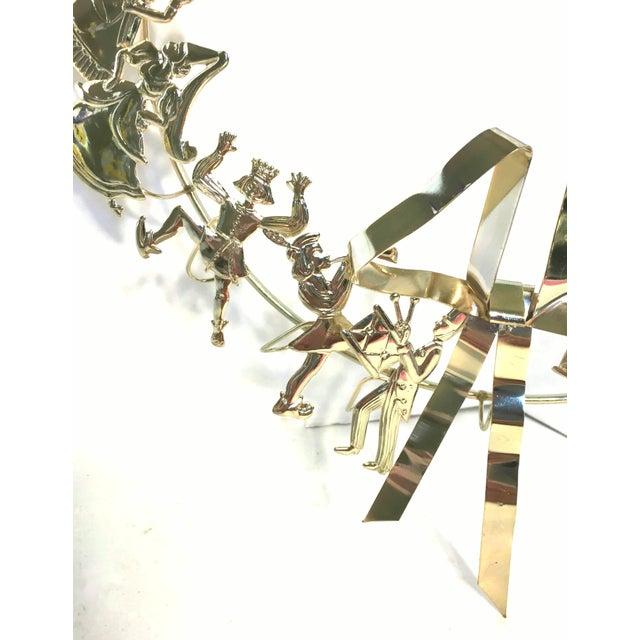 Art Nouveau 1980s Vintage Dresden Twelve Days of Christmas Brass Wreath For Sale - Image 3 of 4