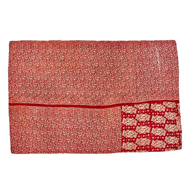 Reversible Hand-Stitched Indian Kantha Throw Blanket - Image 1 of 2