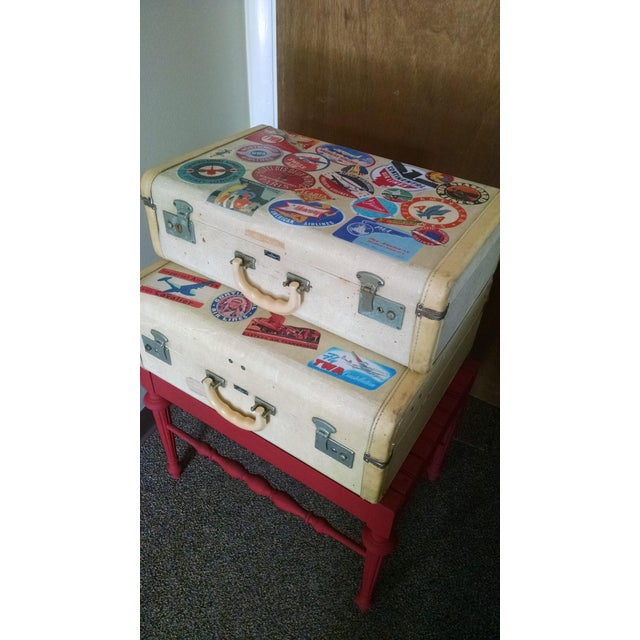 Vintage Suitcase Storage Accent Table - Image 7 of 9