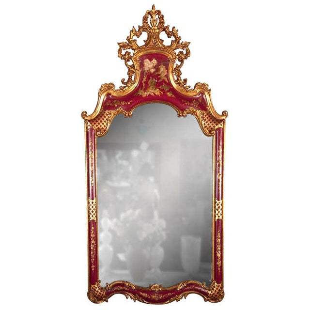 Red French Chinoiserie Style Mirror by Maison Jansen For Sale - Image 8 of 8
