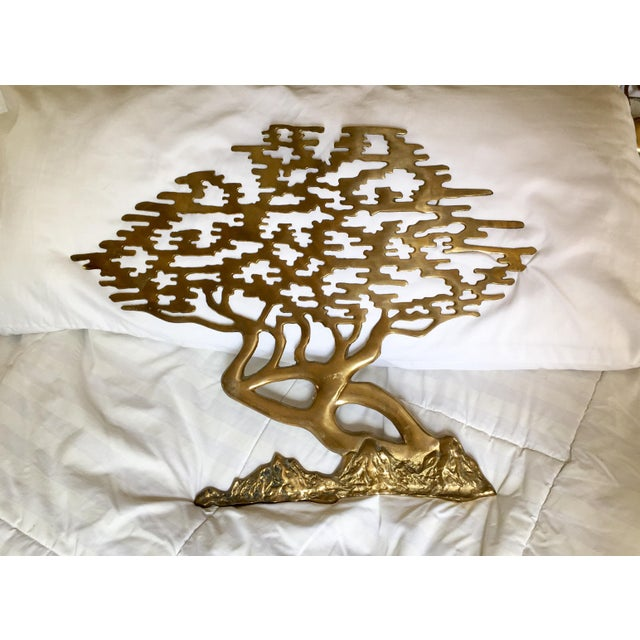 Mid-Century Asian Brass Bonsai Tree - Sculptural Wall Art - Image 3 of 6