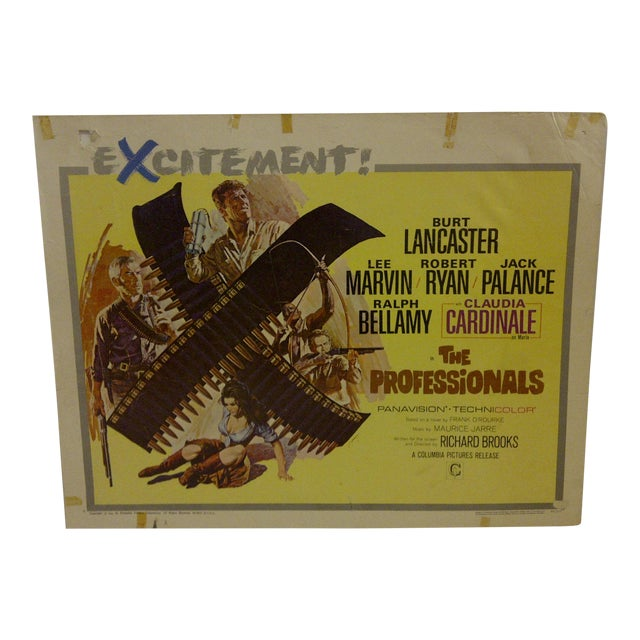"Vintage ""The Professionals"" 1966 Movie Poster For Sale"