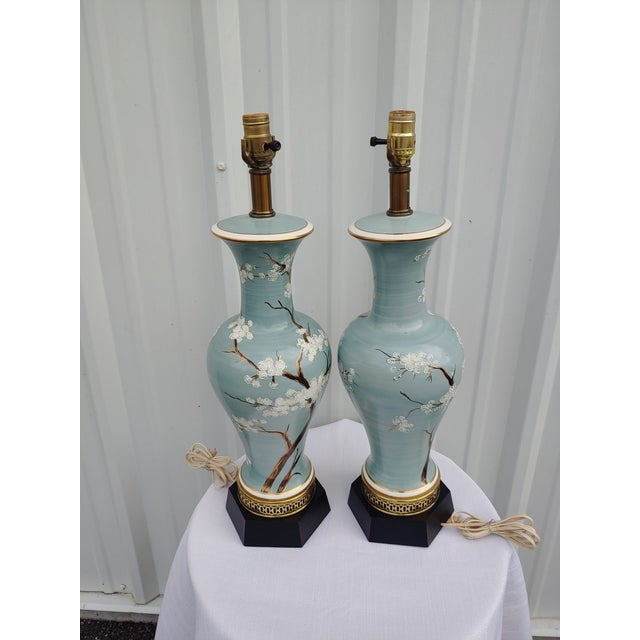 Metal Vintage 1960s Japanese Hand Painted and Brass Lamps - a Pair For Sale - Image 7 of 7