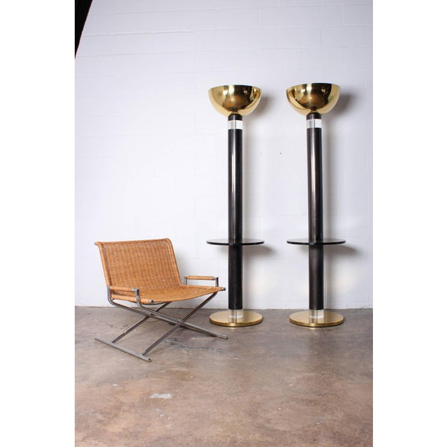 Hollywood Regency Monumental Pair of Torchieres by Karl Springer For Sale - Image 3 of 9