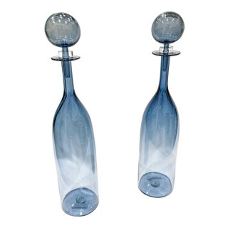 Cariati Glass Blue Decanters - A Pair For Sale