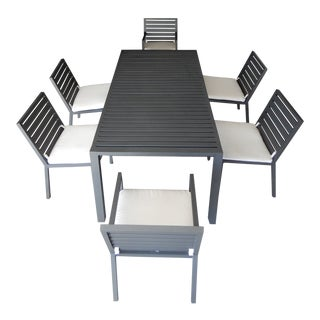 Hector Landgrave Pause Collection Aluminum Dining Set - 7 Pieces For Sale