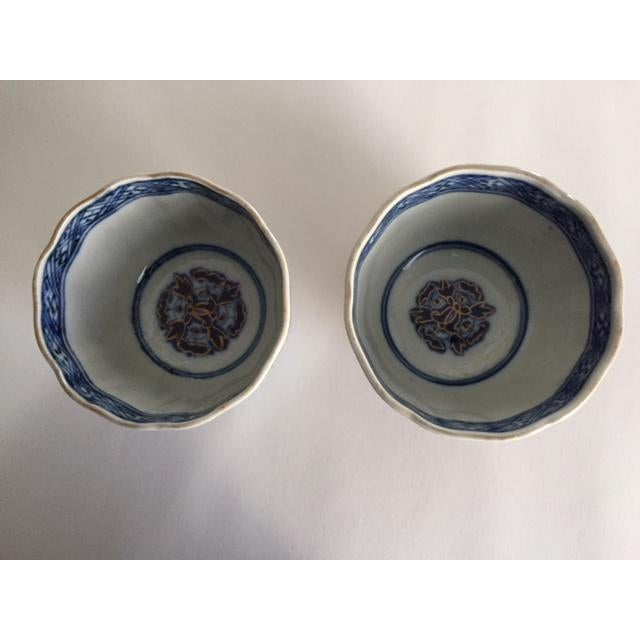 Antique Japanese Imari Porcelain Colored Tea Cups - a Pair For Sale - Image 6 of 7