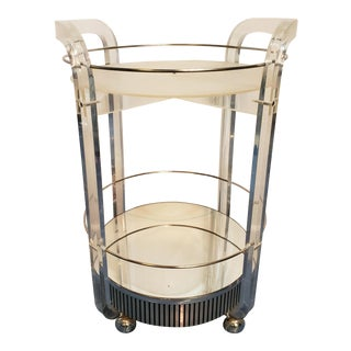 1960s Vintage Circular Lucite Mirror Bar Cart For Sale