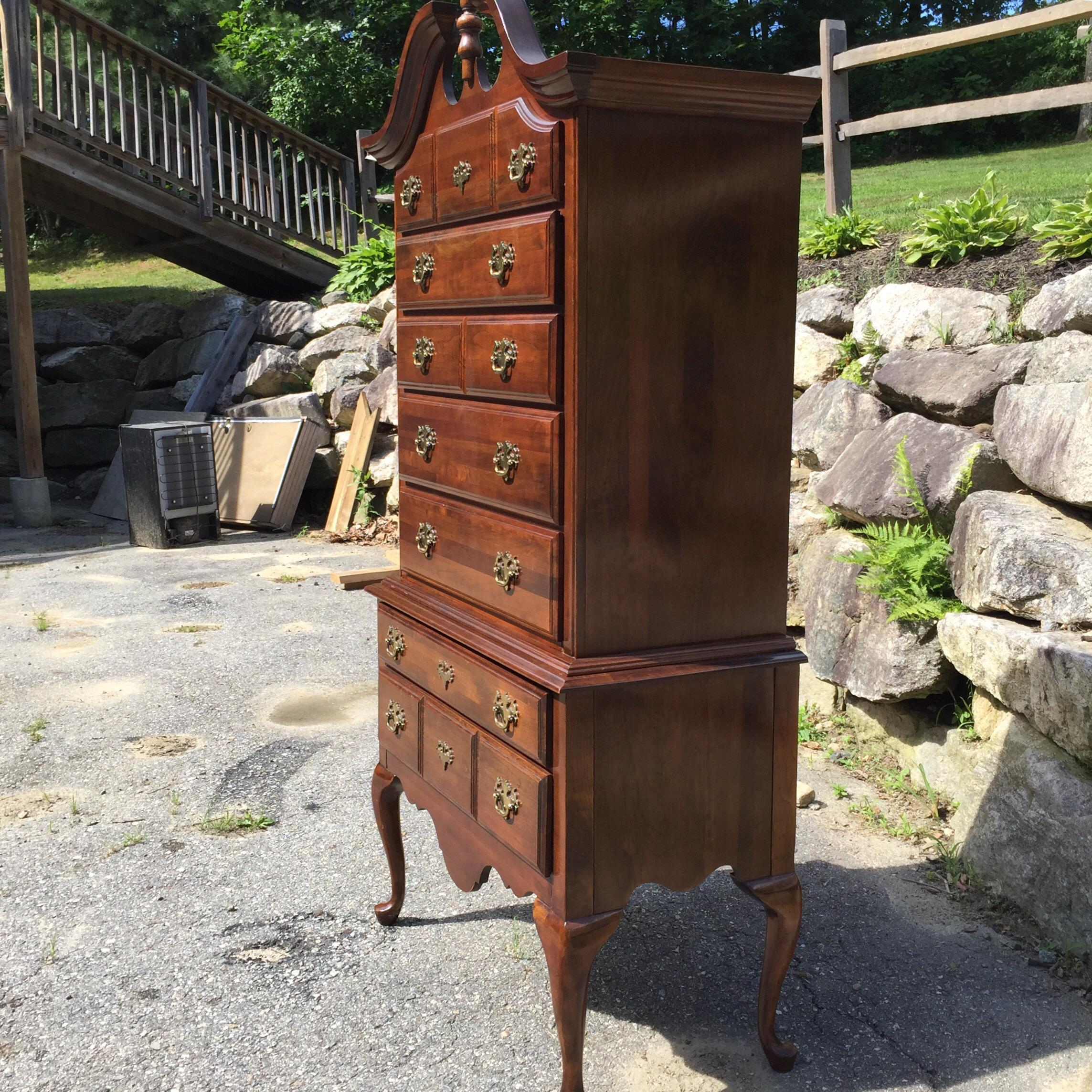 Queen Anne Cherry Highboy Dresser | Chairish